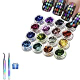 ZHIMIN 16 Nail Boxes Strass Glitter Paillettes, Kits Nail Art Décoration 3D Sticker Decal, Acrylique Paillettes Holographic Ongles Étincelle Feuilles Glitter Conseils Nail Art Décoration