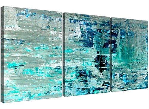 Turquesa Teal Abstract Painting Wall Art Print lienzo–Split–Juego de 3–3333Wallfillers