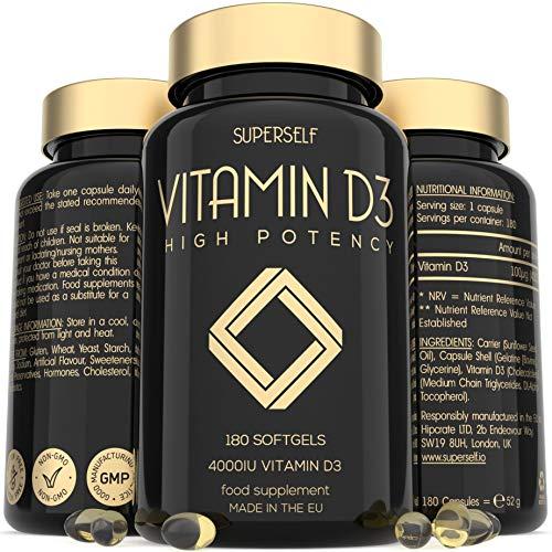 Vitamin D 4000 IU - 180 Softgel Capsules - High Strength Vitamin D3 - VIT D3 Supplement Tablets for Bones, Teeth, Immune System - Easy to Swallow High Absorption Vitamin D Cholecalciferol 4000IU