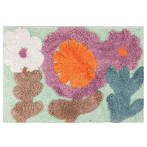 AUCHUIXBFB Alfombra de entrada, tejido manual, diseño de flores, árbol de la felicidad, cocina, baño, puerta, absorción de agua, cojín antideslizante (color: azul claro, tamaño 60 x 90 cm)