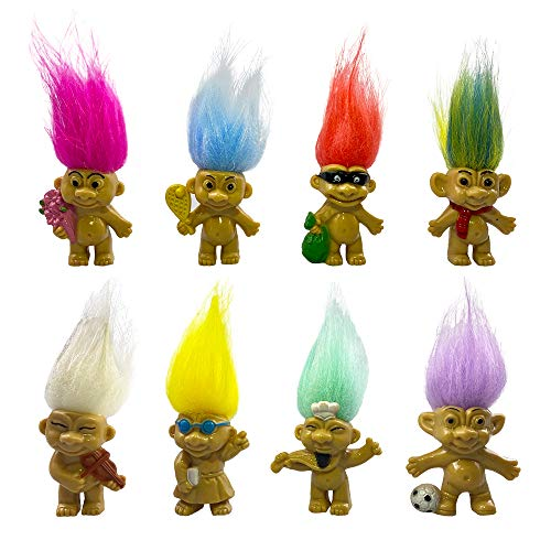 8PCS Troll Dolls, 80s' PVC Vintage Trolls Lucky Doll Action Figures 3' (Include the Length of Hair) Chromatic Adorable For Collections, School Project, Arts and Crafts, Party Favors