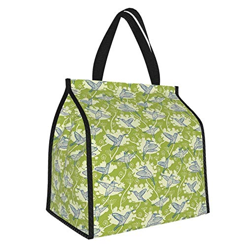 Y-shop Hummingbirds Decorations Flying Birds Pattern On Floral Background Springtime Garden Wings Artful Picnic Freezer Bag,Large Insulated Cooler Bag Picnic Camping Beach Tour BBQ 30l
