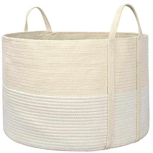 """LA JOLIE MUSE Large Cotton Rope Storage Basket, 21"""" X 21"""" X 13"""" Woven Laundry Basket for Blanket Yoga Mats, Eco-Friendly Decorative Basket with Handle, Beige and White"""