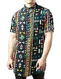 JOGAL Men's African Dashiki Print Short Sleeve Casual Button Down Mandarin Collar Shirts X-Large Multicolor