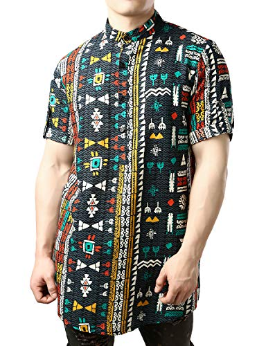 JOGAL Men's African Dashiki Print Short Sleeve Casual Button Down Mandarin Collar Shirts X-Large Multicolor