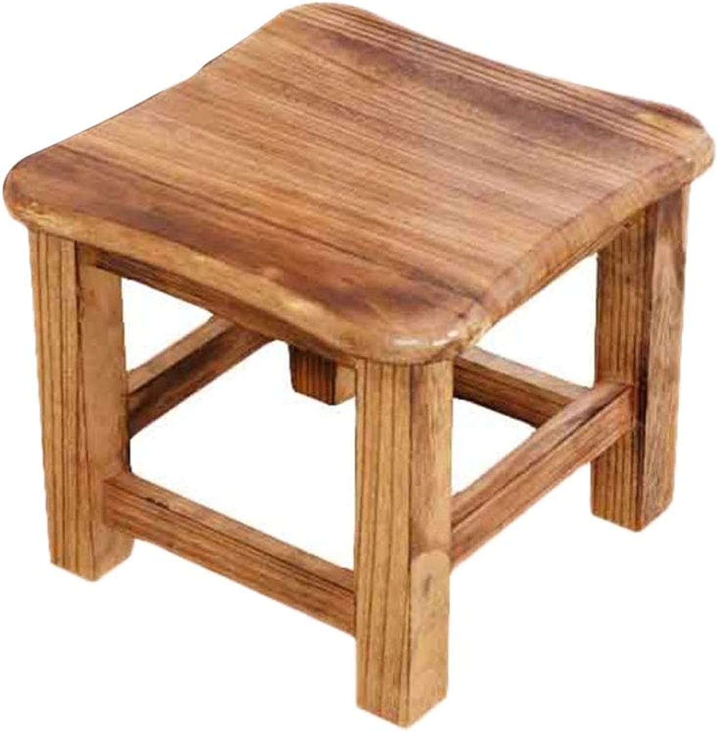 Small Wood Footstool Footrest Stool, Sofa Coffee Table Stool shoes Change Stool with Wood Legs Home Living Room-A