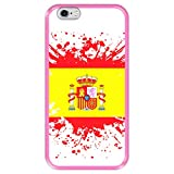 Funda Rosa para [ Apple iPhone 6 6S ] diseño [ Ilustración 1, Bandera de España ] Carcasa Silicona Flexible TPU