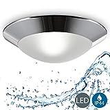 B.K.Licht plafonnier LED salle de bain Ø 310mm, applique salle de bain, éclairage plafond, lumière blanche chaude, luminaire IP44 salle d'eau et cuisine, pour ampoule E27 40W max, 230V