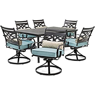 Hanover MCLRDN7PCSQSW6-BLU Montclair 7-Piece Set in Ocean 6 Swivel Rockers and a 40  x 67  Dining Table Outdoor Furniture, Blue