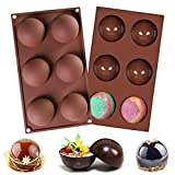 ♥ 6-cavity semi sphere silicone mold is made of 100% food-grade silicone, BPA free, non-toxic, tasteless, odorless.Flexible and durable, not easy to deform or tear up. ♥ Size : 29.5 x 17.5 x 3.5cm / 11.6 x 6.9 x 1.4 inches.Prefect for baking chocolat...