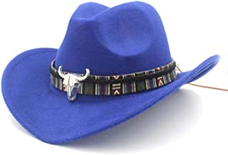 SHENTIANWEI Men Women Wool Western Cowboy Hat with Cow Head Band Pop Wide Brim Church Hat Sombrero Fascinator Hat Church Hat Size 56-58CM