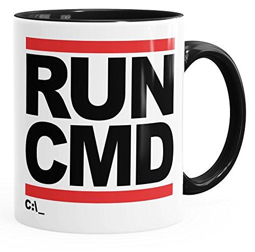 MoonWorks Kaffee-Tasse Run CMD Nerd Geek Computer-Freak Tasse mit Innenfarbe schwarz Unisize