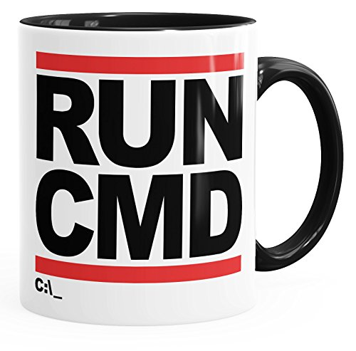 MoonWorks Run CMD Nerd Geek - Taza de café, cerámica, Run CMD – Dyed Negro, Talla única