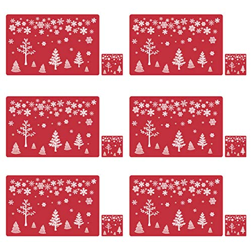 cospay Christmas Placemats Set of 6, with Reindeer Santa Snowman Printed, Non-Slip Place mats Washable Table Mats (Red, 6)