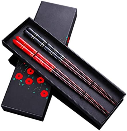 2-Pairs Fiberglass Dishwasher-Safe Chopsticks with Holder and Case, Premium Chinese Dragon Chopsticks Gift Set, Reusable Classic Style