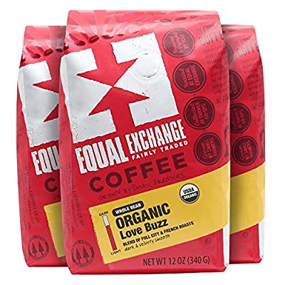 Equal Exchange Organic Whole Bean Coffee, Love Buzz, 12-Ounce Bag (Pack of 3)