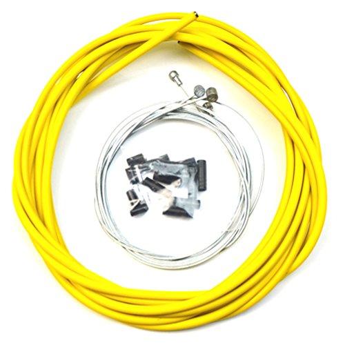 WINOMO Bicicleta de la bici completa delantera y trasera Interior Exterior alambre engranaje freno de cables - amarillo