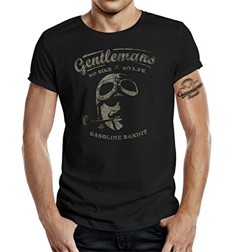 Gasoline Bandit Original Gentlemen Rider Design T-Shirt: Gentlemen No Bike - No Life-L