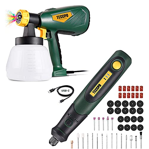 Paint Sprayer Up to 100DIN-s, 3 Spray Patterns, High Power HVLP Electric Paint Sprayer, 1300ml Detachable Container + 3.7V Cordless Rotary Tool kit, Mini Rotary Tool perfect for Small Light Jobs