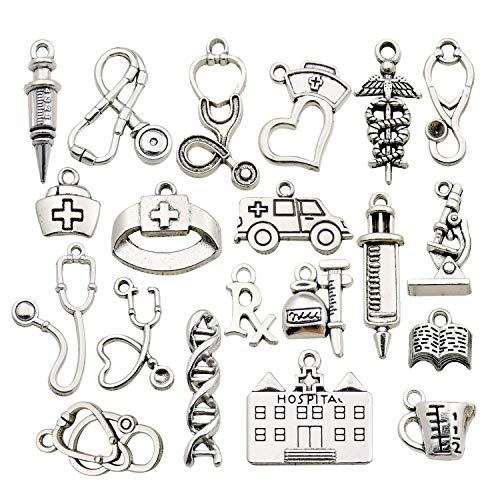 iloveDIYbeads 60pcs Craft Supplies Antique Silver Medical Nurse Charms DNA Stethoscope Syringe Nurse Cap Hat Charms for Jewelry Making Crafting Findings Accessory for DIY Necklace Bracelet (M319)