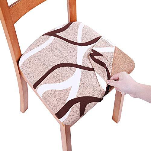 Homaxy - Fundas protectoras elásticas para asiento de sillas de comedor, extraíbles y lavables con lazos, caqui, 2 unidades