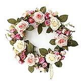 Realista Falso camelia de Rose Garland Artificial corona de flores colgantes de flor artificial del adorno de la camelia de Rose Garland decoración de la pared de la puerta Fuerte ( Color : Rose Red )