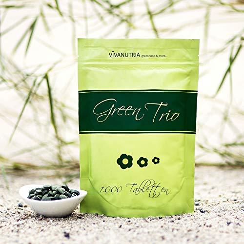 VivaNutria Green Trio Presslinge 500g | aus kontrolliertem Anbau I 2000 Tabletten aus Spirulina Chlorella & Gerstengras ohne Zusätze I schonend verarbeitet und Rohkostqualität I vegan