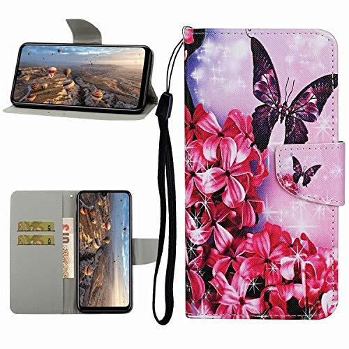 Miagon Hülle für Xiaomi Redmi Note 9S,Handyhülle PU Leder Brieftasche Schutz Flip Case Wallet Cover Klapphüllen Tasche Etui mit Kartenfächern Stand,Rot Blume