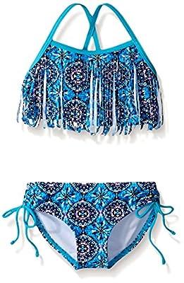 Kanu Surf Girls' Big Kelly Beach Sport Fringe 2-Piece Bikini Swimsuit, Hannah Blue, 10