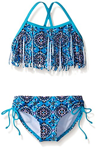 Kanu Surf Mädchen Kelly Beach Sport Fransen Zweiteiler Bikini Badeanzug - Blau - 6X