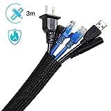 AGPTEK Kabelkanal, selbstschließend Kabelschlauch, gewebter Kabelmantel zuschneidbar, flexibel 3m,...