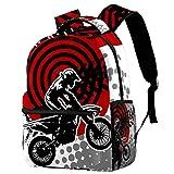 Motocross donna Zaino Per Bambini Zaino Scuola Materna Scuola Materna Bambino Grande Capacità Stampa Completa 29.4x20x40cm
