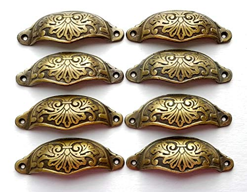 8 Ornate Apothecary Cabinet Drawer Cup Pull Handles Victorian Style 3-1/2' cntr #A1