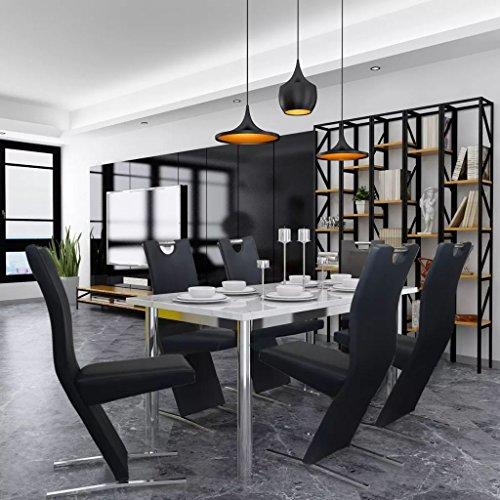 Festnight Lot de Chaises de Salle à Manger 6 pcs Noir 40,5 x 61 x 99 cm Chaise de Cuisine Moderne de Bureau