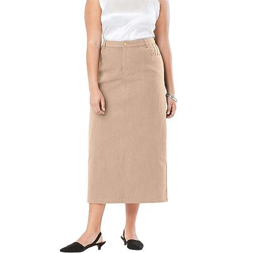 d021cee18f1 Jessica London Women s Plus Size Classic Cotton Denim Long Skirt