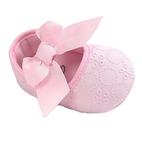 Baby Girls Princess Bowknot Soft Sole Cloth Crib Shoes Sneaker Pink, 3-6 Months