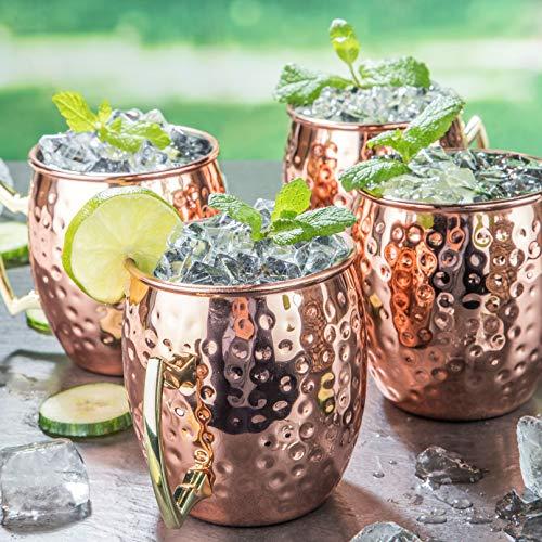 Mule Becher aus Edelstahl - 4er Set / 500 ml - Moscow Kupferbecher ideal für Cocktails und Longdrinks