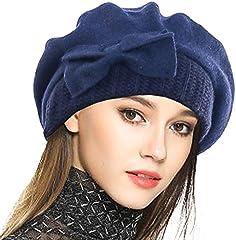 VECRY Mujer Boina 100% Lana Vestido Beanie Invierno Sombrero (Armada)