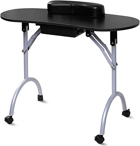 high quality Giantex Portable & Foldable sale Manicure Nail Table Station, Nails Desk Spa Beauty Salon wholesale Technician Equipment w/ Wrist Pad&Large Drawer, Free Carrying Case, Nail Workstation 27 Inches Height, Black outlet online sale