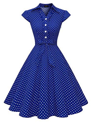 WedTrend Damen 50er Retro Herzform Knopf Rockabilly Kleid Kurzer Ärmel A-Linie Kleider WTP10007 RoyalWhiteDot M