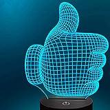 Lámpara 3D de ilusión óptica de pulgar alta, 7 colores, interruptor táctil, ilusión nocturna, para dormitorio, hogar, decoración, boda, cumpleaños, Navidad, San Valentín