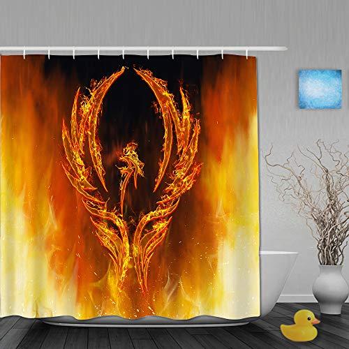YOLIKA Cortina de Ducha,Ilustración de un Ave fénix en Llamas con alas Saliendo de un Horno de Fuego,Tejido de poliéster - con Gancho,180x210