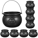 Toyvian 9 Pack Black Cauldron,Halloween Candy Bucket Kettle Multi-purposed Novelty Candy Holder Pot with Handle for Halloween,St Patrick's Day Party Favors