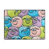 Area Rug Colorful Sheeps Tapis, Large Carpet Floor Mats Lightweight Tapis for Bedroom Living Room Dining Room 5'3'×4'