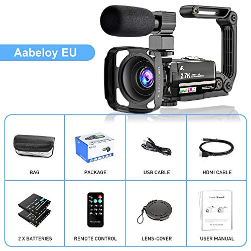 Videokamera 2.7K Camcorder UHD 36MP Vlogging Kamera für YouTube IR Nachtsicht 3.0