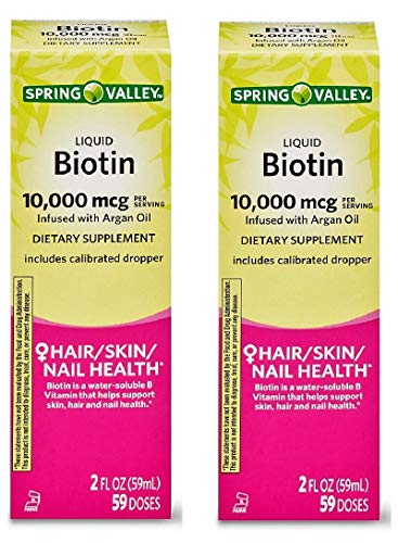Spring Valley Liquid Biotin 10,000 mcg Argan Oil Hair, Skin, Nail Health, 2 fl oz (Pack of 2)