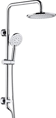 Rain Shower heads system including rain fall shower head and handheld shower head with height adjustable holder, solid brass rail 60 inch long stainless steel shower hose (chrome plated)