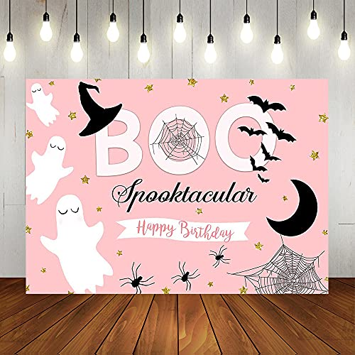 Lofaris Halloween Themed Boo Spooktacular Backdrops Happy Birthday Pink Banner for Girls Ghost Spiderweb Bat Golden Stars Photography Background 7x5ft Girl Birthday Party Decorations Photo Booth Prop