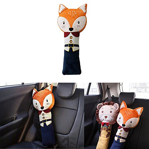 Seat Belt Pillow, Car Seat Belt Covers for Kids, Plush Toy Pet Seat Belt Strap Cover, Adjust Vehicle Shoulder Pads, Safety Belt Protector Cushion by Sunsang (fox)