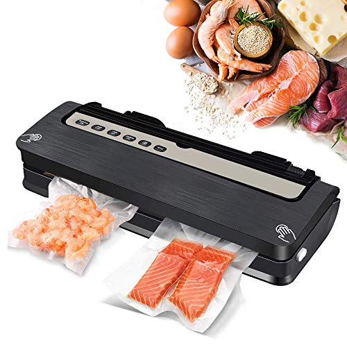 Vacuum Sealer Machine, Food Vacuum Sealer Machine, Automatic Air Sealing System for Food Preservation, Built-in Cutter, Better Sealability w/ 2 Heating Wires, Dry and Wet Modes, 18 Vacuum Sealer Bags, Black